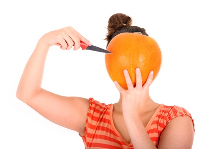 A picture of a woman with a pumpkin instead of a head standing over white background photo