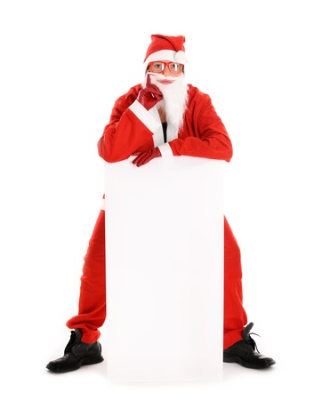 A picture of a woman Santa holding a white empty boardat it over white background photo