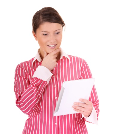 A picture of a young pretty woman with a tablet computer over white background photo