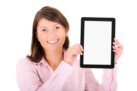 A picture of a young woman holding a tablet computer over white background photo