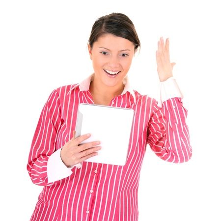 A picture of a surprised young woman holding a tablet computer over white background photo