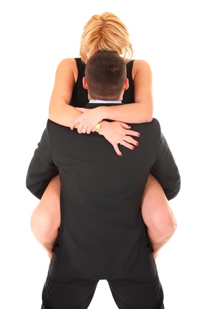 A picture of a sexy couple hugging over white background photo