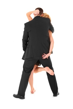 Una foto de una pareja bailando sexy sobre fondo blanco Foto de archivo - 12197990