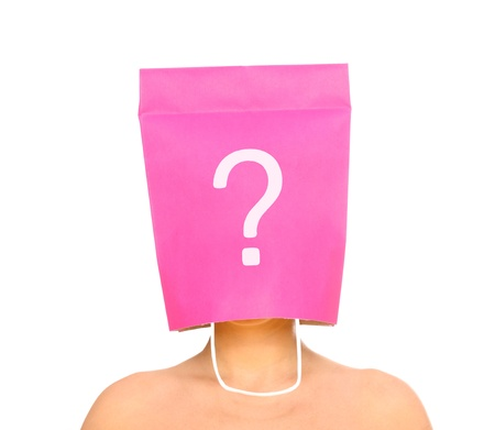 A portrait of a young woman with her head covered with a pink shopping bag photo