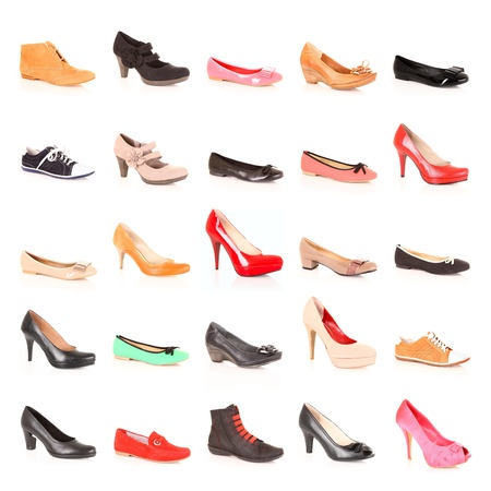 multiple objects: A picture of a set of different shoes over white background Stock Photo