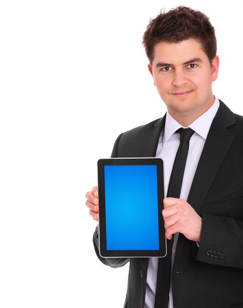 A picture of a young businessman with his tablet computer over white background Stock Photo - 12911223