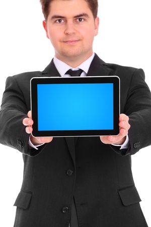 A picture of a young businessman with his tablet computer over white background Stock Photo - 12911709
