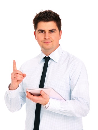 A picture of a young businessman with his tablet computer over white background Stock Photo - 12907107