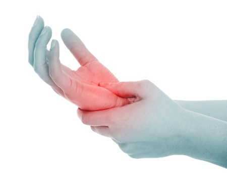 dolor muscular: Una foto de una palma de la mano femenina en el dolor más de fondo blanco