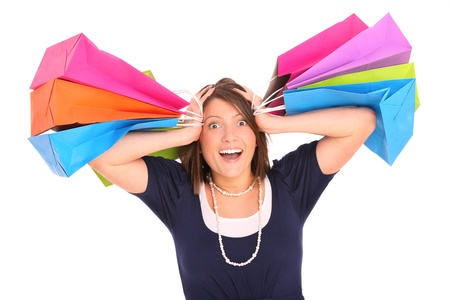 A picture of a young happy woman with shopping bags over white background Stock Photo - 13133807