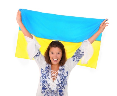 A picture of a happy Ukrainian female fan cheering against white background Stock Photo - 13687128