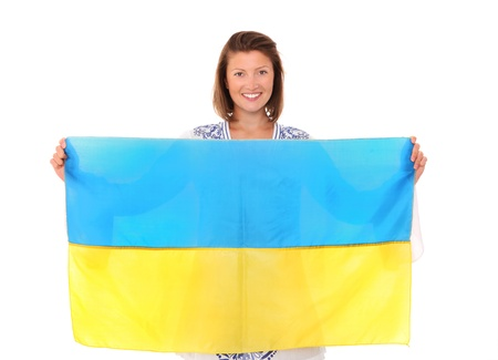 A picture of a happy Ukrainian female fan cheering against white background