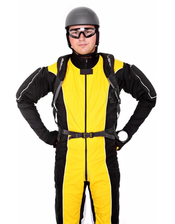 altimeter: A picture of a young parachutist standing over white background