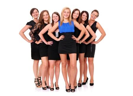 bachelore party: Un retrato de siete amigas que celebran la despedida de soltera m�s de fondo blanco Foto de archivo