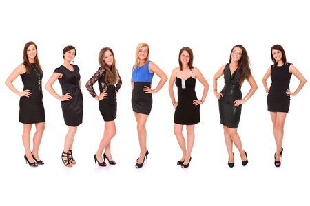 A picture of seven young beautiful women in black dresses posing over white background Stock Photo - 14164490
