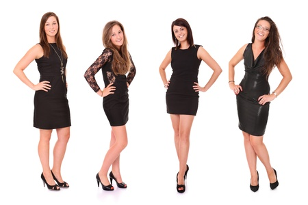over black: A picture of four young beautiful women in black dresses posing over white background Stock Photo