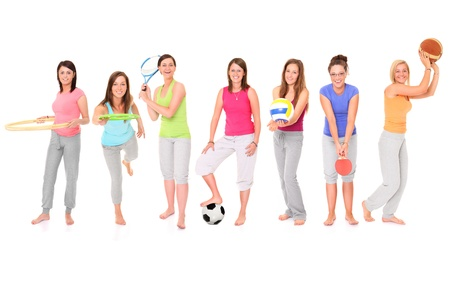 A picture of seven girls presenting different sports over white background photo