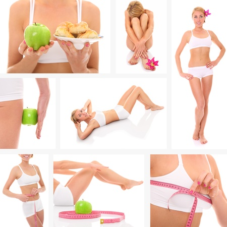A collage of eight pictures presenting a beautiful fit woman taking good care of her body photo