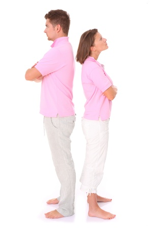 A picture of a young couple arguing over white background photo