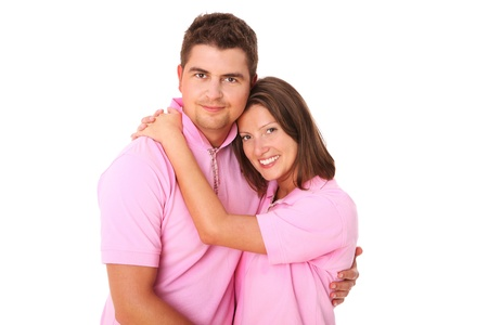A picture of a young happy couple hugging over white background Stock Photo - 14466254