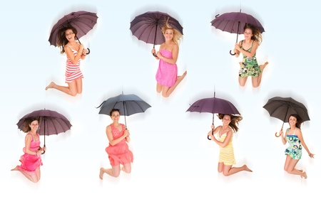A set of seven pictures of young positive women jumping with umbrellas and smiling over white background Stock Photo - 14546584