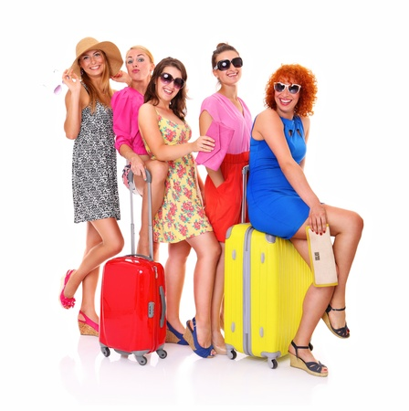 A picture of five girl friends with their luggage ready to on holidays over white background Stock Photo - 15030073