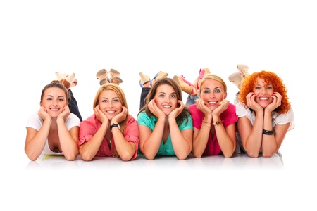 A picture of five women lying in a row and smiling over white background Stock Photo - 16056504