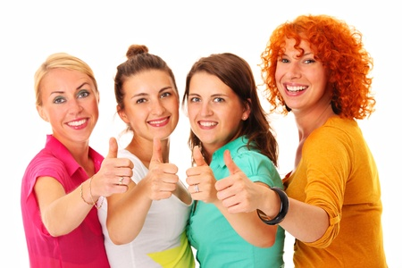 A picture of four women smiling and showing ok sign over white background Stock Photo - 16056519