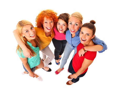A picture of five beautiful girls standing and smiling over white background Stock Photo - 16056512