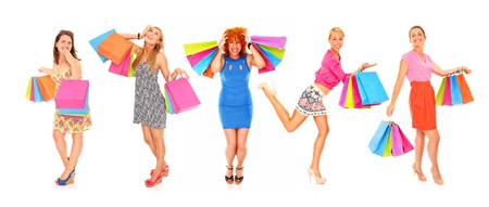 A picture of young sexy women with shopping bags over white background Stock Photo - 16382660