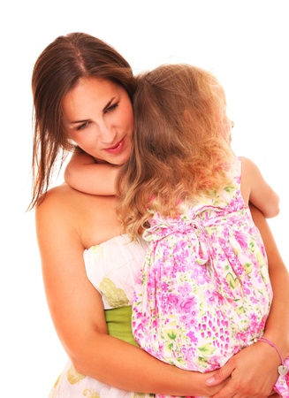 comforting: A picture of a young mother comforting her daughter over white background
