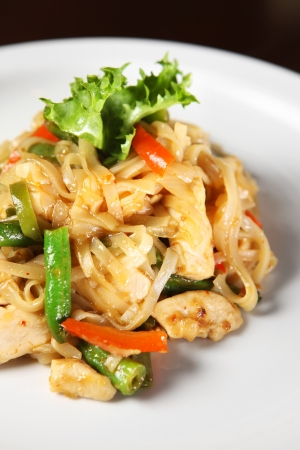 A picture of thai noodle with chicken and vegetables served on a white plate photo