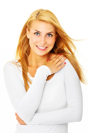 A picture of a young pretty woman smiling over white background Stock Photo - 17573309