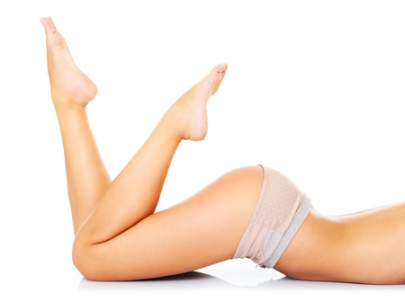 A picture of a sexy woman lying over white background Stock Photo - 17797110