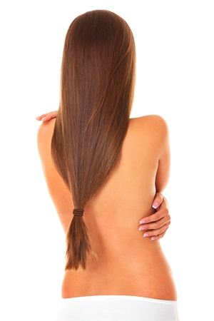 hair tied: A picture of the back of a woman with her hair tied over white background