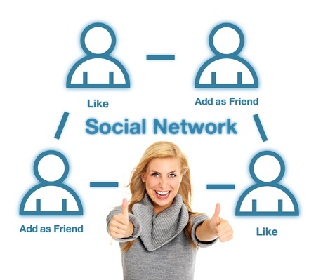 A portrait of a pretty woman and social network structure over white background Stock Photo - 19356957