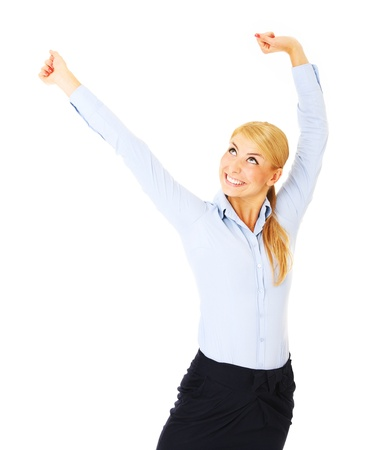stratching: A picture of a young happy woman stretching over white background