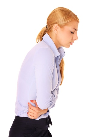 A picture of a young woman suffering from stomachache over white background
