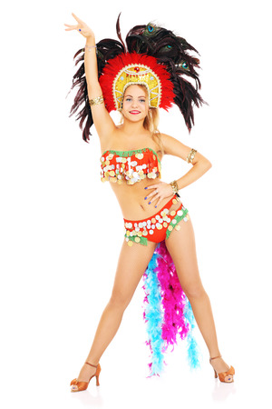A picture of a carnival girl posing over white background photo