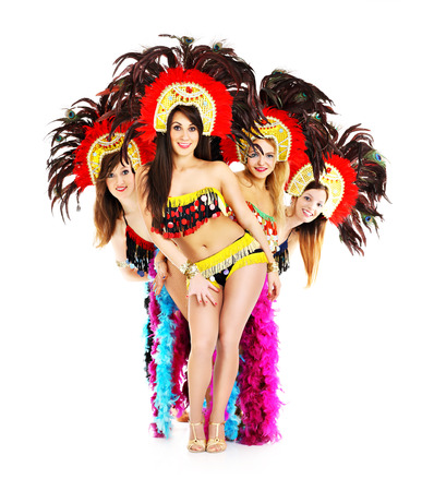 cabaret: A picture of a carnival girls posing over white background Stock Photo