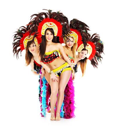 gente bailando: Una imagen de una ni�a de Carnaval posando sobre fondo blanco