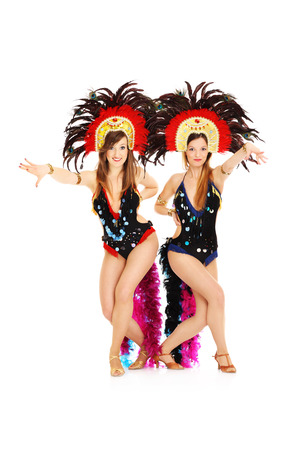 A picture of carnival girls posing over white background photo