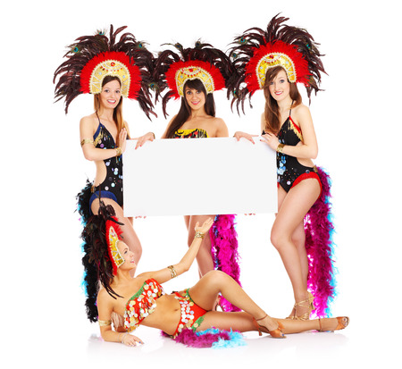 cabaret: A picture of a carnival girls holding a white board over white background