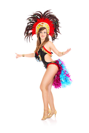 A picture of a carnival girl posing over white background