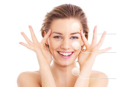 Een afbeelding van een vrouwelijk gezicht in tweeën gesneden te presenteren voor en na de make-up effecten over een witte achtergrond