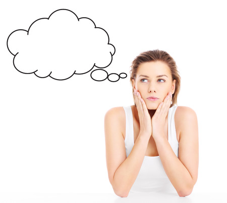 decission: A picture of a young woman lost in thoughts over white background