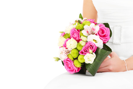 A picture of wedding flowers and a bride over white background