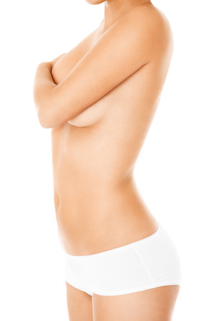 A picture of a young womans body over white background photo