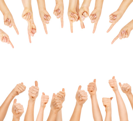 index finger: A picture of team of people showing ok signs and pointing over white background