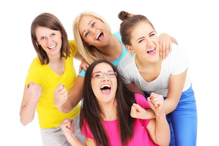group picture: A picture of a joyful group of friends showing joy over white background